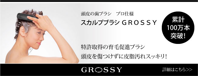 頭皮を傷つけずに皮脂汚れをとるスカルプブラ「GROSSY」
